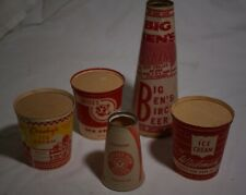 5 VINTAGE PAPER ICE CREAM DAIRY CONE CONTAINERS w ADVERTISING  SCARCE!!!