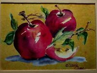 Joanne Chase: Red Apples Table Yellow Light, Still Life VINTAGE Original Print