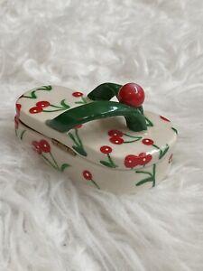 Red cherry flip flop sandal trinket box ceramic retro pinup jewelry