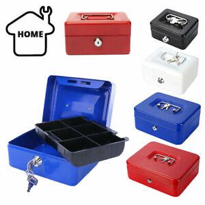 "5""-10"" Petty Cash Money Safe Box Deposit Steel Tin Security Organiser with 2 Key"