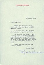 PHYLLIS NEWMAN - TYPED LETTER SIGNED 2/20