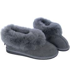 New Grey Luxury Women's100% Pure Genuine Sheepskin Suede Slippers Hard Sole