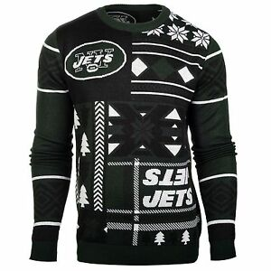New York Jets Patches Ugly Sweater NFL-Crew Neck NEW with TAGS