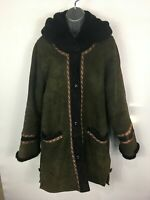 WOMENS TURKIS TUKKU GREEN LEATHER FUR LINED BUTTON UP HOODED BOHO WINTER COAT M