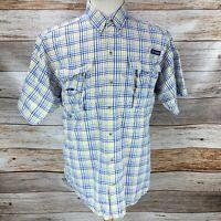 Columbia Mens PFG Super Bahama Shirt Short Sleeve Yellow Blue Plaid Vented Sz M