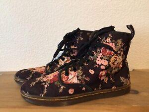 Women's Dr. Martens SHOREDITCH Sz 8 Black Rose Floral Canvas Shoes Boots