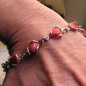 Original Gem 8mm Red Coral Bead Bracelet Made Italy Artisan 1