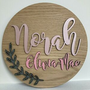*ANY COLOUR* Circular wooden name plaque - leaf motif - Nursery, bedroom door