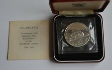 1973 St Helena 25 pence Tercentenary Silver Proof Coin + Case