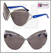 CHRISTIAN DIOR AUDACIEUSE 1 Black Gold Blue Cat Eye OVERSIZED Sunglasses 4CLY1