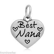 "1 Pendentif Acier inoxydable ""Best Nana"" Coeur Accessoires Pr Collier 16x16mm"
