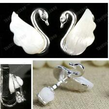 CLIP ON earrings ELEGANT SWAN white MOP SHELL mother of pearl SILVER PL crystal