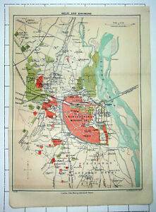 INDIA ~ DELHI AND ENVIRONS ~ 1909 Colour Folded Small Map Plan