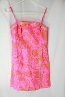 Womens Lilly Pulitzer Orange Pink Embellished Spaghetti Strap Dress Size 2 EUC