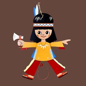 1960er Mertenskunst: Tomahawk-Indianer 29cm HOLZ-HAMPELMANN Vintage Deko Kind