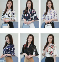 Summer Women's Flower Casual Chiffon Half Sleeve Shirt Loose Tops Blouse