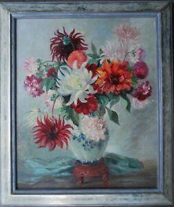 Plückebaum Meta 1876-1945 EDELDAHLIEN Blumenpracht Ölgemälde Weißgoldrahmung