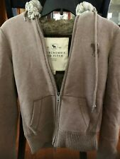Abercrombie & And Fitch Fur Zip Hoodie M Ladies Fit Size M Warm faux fur