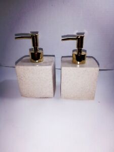 Refillable Resin Soap Dispensers Bottle With Gold Plastic Pump 13.5 oz