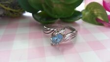 Beautiful Blue Aqua CZs Solid Ring Real 925 Sterling Silver *Size 7 1/4 *I078