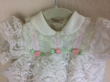 Baby Togs White Tiered Ruffle Lace Dress Pink Rosettes Size 3-6