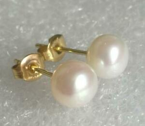 VINTAGE 6.6 Akoya pearl earrings and 5mm hand carved Indian rubies14k on handmade 14k gold filled ear wires