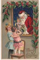 Beautiful~Santa Claus & Little Girls~Doll~Holly Antique Christmas Postcard-p987