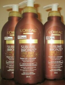 Lot of 3 L'oreal Sublime Bronze 1 Day Tinted Gel Sunless instant Tan 200ml/ 7oz