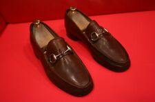 $729.00 !! GUCCI MEN'S DARK BROWN LEATHER ICONIC HORSE BIT LOAFERS SIZE 8 - 8.5