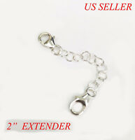 """2"""" Solid 925 Sterling Silver Round Link Extender Safety Chain Necklace Bracelet"""
