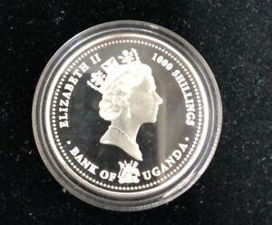 2004 Uganda WuGang FaGui 1000 Shillings Colored Silver Coin Proof 1/2 oz, OGP