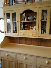 Large Welsh dresser, painted finish, glass display cupboards