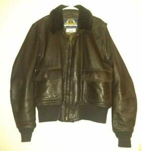 Vintage COOPER G-1 USN Goatskin Leather Flight Bomber Jacket Brown 48R MINT COND