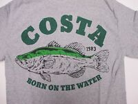 New Authentic Costa Del Mar, Big Bass, Gray S/S T-Shirt Size XL