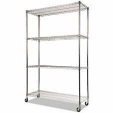 Alera Complete 4 Shelf Silver Wire Unit Withcasters 48 X 18 X 72 Alesw604818sr