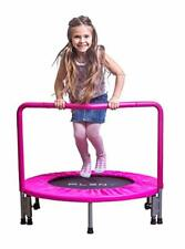 """Kids Mini Trampoline with Handle Pink 36"""" Sport Active Toy Children Fun Play"""
