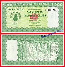 ZIMBABWE BEARER CHEQUE 100000 Dollars dolares 2006 Pick 32 SC / UNC
