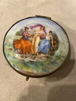 Vintage Hinged Box Ceramic Brass Old Marked Friedrich Painted Ladies With Mirror