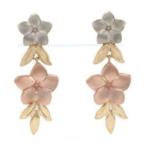 Floral Dangle Earrings - 14k Yellow, Rose, & White Gold Plumeria Matte Pierced