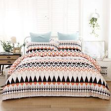 Striped Geometric Quilt Doona Duvet Cover Set Queen Size Bedding Set Pillowcase