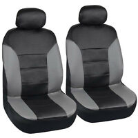 Grey & Black Two Tone Leather Seat Covers Front Pair - Motor Trend Leatherette