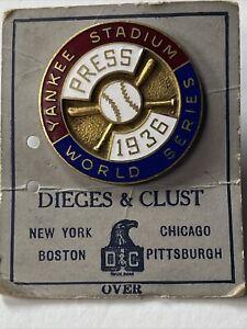 ORIGINAL 1936 WORLD SERIES MEDIA PRESS PIN  NEW YORK YANKEES Never Used