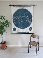 VINTAGE PULL ROLL DOWN SCHOOL WALL CHART POSTER OF STARS OF NORTHERN HEMISPHERE