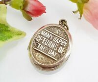 Antique Victorian 9 Ct Gold Birthday Locket - Many Happy Returns of the Day