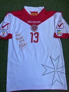 Malta National Team Match Worn Shirt Jersey #13 Signed WC 2014 vs Italy