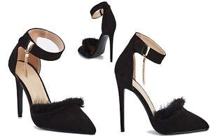 Womens Fur Trim & Ankle Chain Detail Strap Heeled Suede Sandals Black 6 EU39