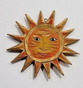 Sun Window Hanger Wood Luck Wall Decoration Handmade Figurine Sculpture Moon