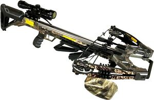 Bruin Ambush 410+ Crossbow Package w/ Scope, Bolts, Quiver and Cocking Rope Camo