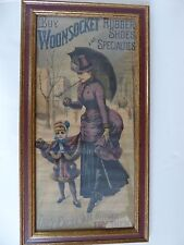 WOONSOCKET RUBBER SHOES & SPECIALITIES ORIGINAL VINTAGE POSTER CIRCA 1870 RARE