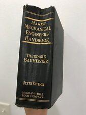 Marks Mechanical Engineers Handbook 6th Edition Baumeister 1958 McGraw Hardcover